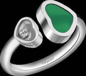 Ring Chopard Happy Hearts aus 750 Weißgold mit 1 Brillant (0,04 Karat) und 1 Achat