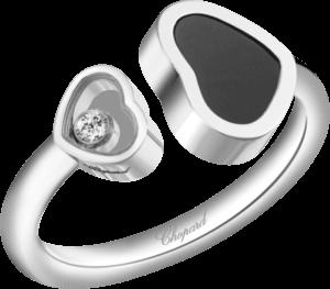 Ring Chopard Happy Hearts aus 750 Weißgold mit 1 Brillant (0,04 Karat) und 1 Onyx