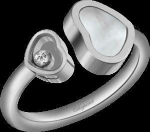 Ring Chopard Happy Hearts aus 750 Weißgold mit 1 Brillant (0,04 Karat) und 1 Perlmutt