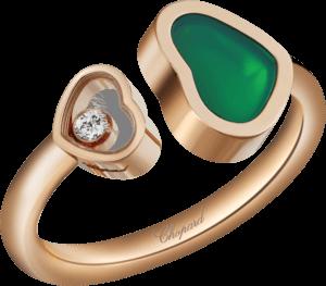 Ring Chopard Happy Hearts aus 750 Roségold mit 1 Brillant (0,04 Karat) und 1 Achat
