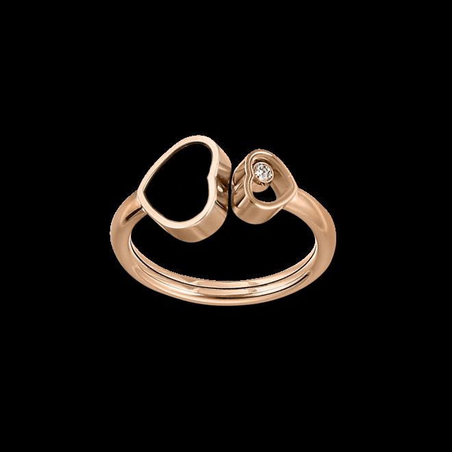 Ring Chopard Happy Hearts aus 750 Roségold mit 1 Brillant (0,04 Karat) und 1 Onyx
