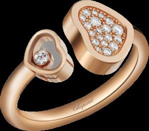 Ring Chopard Happy Hearts aus 750 Roségold mit 24 Brillanten (0,22 Karat)