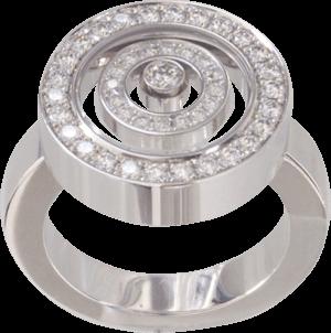 Ring Chopard Happy Spirit aus 750 Weißgold mit mehreren Brillanten (0,68 Karat) Größe 53