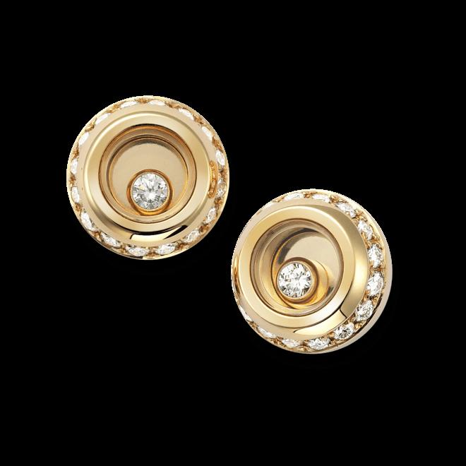 Ohrstecker Chopard Miss Happy aus 750 Gelbgold mit mehreren Diamanten (2 x 0,14 Karat)