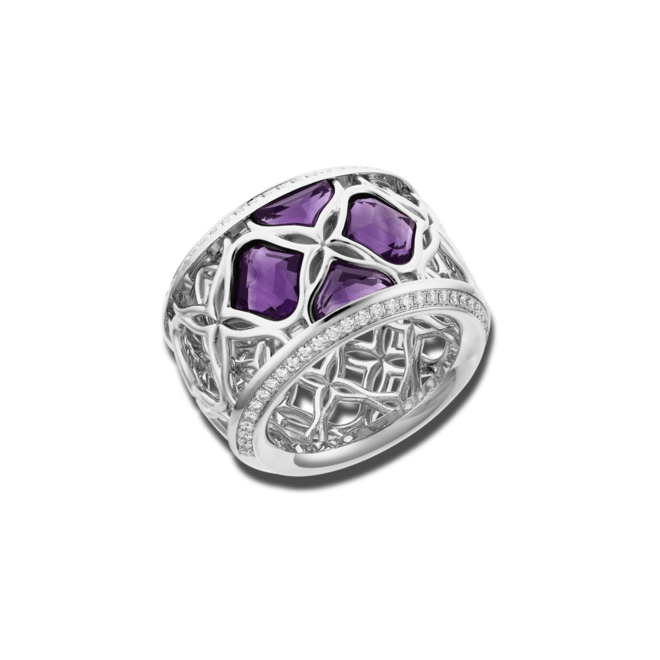 Ring Chopard Lace Jewellery aus 750 Weißgold mit 4 Amethysten und 58 Diamanten (0,35 Karat) Größe 53 bei Brogle