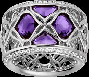 Ring Chopard Lace Jewellery aus 750 Weißgold mit 4 Amethysten und 58 Diamanten (0,35 Karat) Größe 53