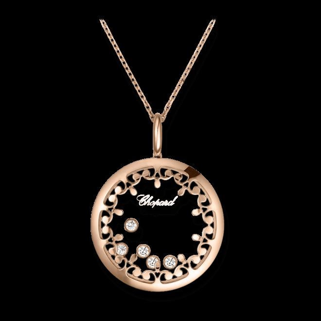 Halskette mit Anhänger Chopard Happy Diamonds aus 750 Roségold mit 5 Brillanten (0,5 Karat)
