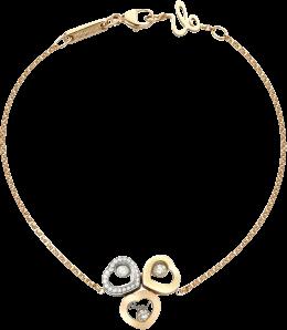 Armband Chopard Happy Curves aus 750 Roségold, 750 Gelbgold und 750 Weißgold mit 25 Brillanten (0,15 Karat) Größe 19 cm