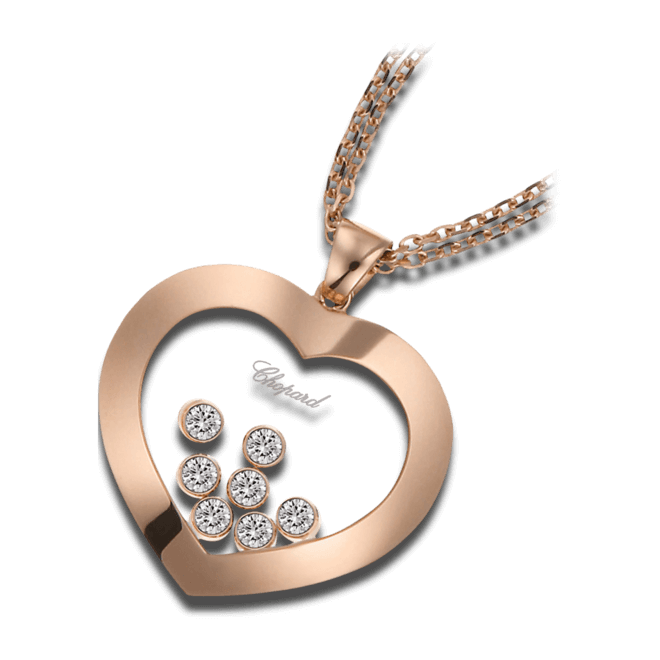 Halskette mit Anhänger Chopard Happy Curves aus 750 Roségold mit mehreren Brillanten (0,3 Karat)