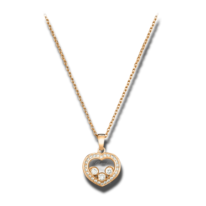 Halskette mit Anhänger Chopard Happy Curves aus 750 Roségold mit mehreren Brillanten (0,29 Karat)