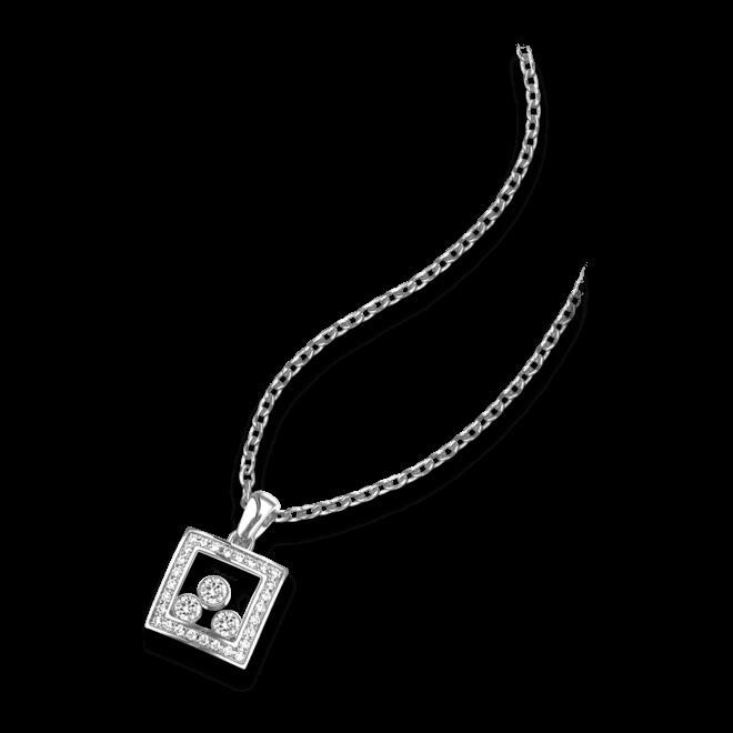 Halskette mit Anhänger Chopard Happy Curves aus 750 Weißgold mit mehreren Diamanten (0,28 Karat)