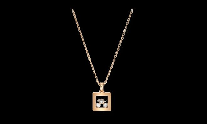 Halskette mit Anhänger Chopard Happy Curves aus 750 Roségold mit 3 Brillanten (0,13 Karat)