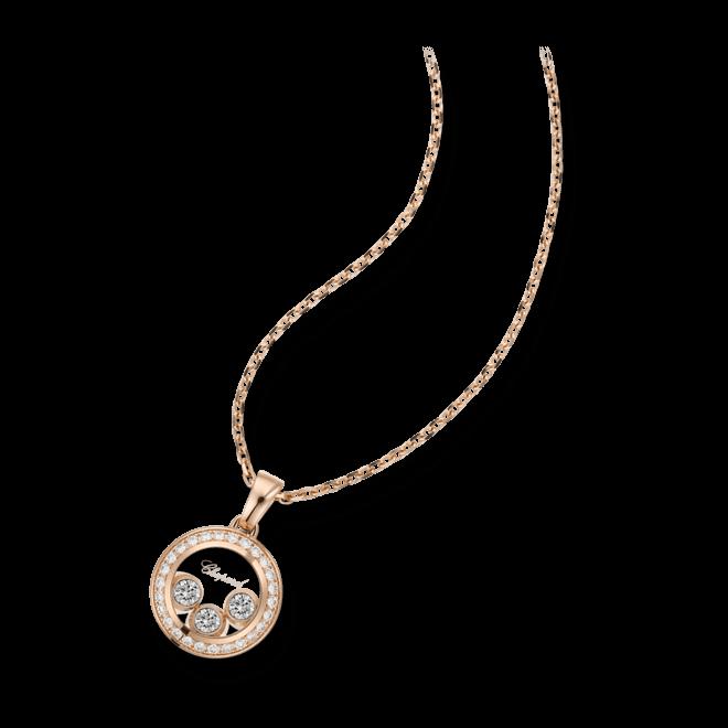 Halskette mit Anhänger Chopard Happy Curves aus 750 Roségold mit mehreren Brillanten (0,26 Karat)