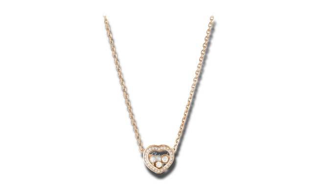 Halskette mit Anhänger Chopard Happy Curves aus 750 Roségold mit mehreren Brillanten (0,16 Karat)