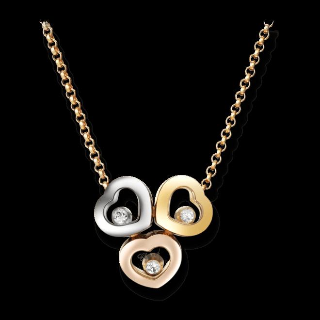 Halskette mit Anhänger Chopard Happy Curves aus 750 Roségold, 750 Gelbgold und 750 Weißgold mit 3 Brillanten (0,08 Karat)