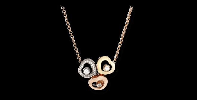 Halskette mit Anhänger Chopard Happy Curves aus 750 Roségold, 750 Gelbgold und 750 Weißgold mit 25 Brillanten (0,15 Karat)