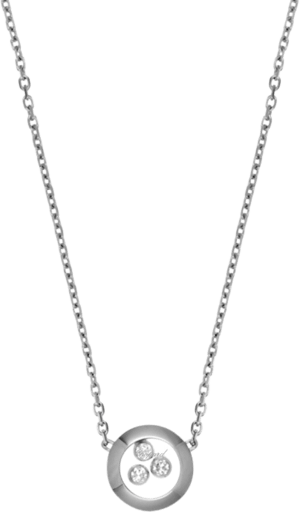 Halskette mit Anhänger Chopard Happy Curves aus 750 Weißgold mit 3 Brillanten (0,08 Karat)