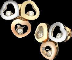 Ohrstecker Chopard Happy Curves aus 750 Gelbgold, 750 Roségold und 750 Weißgold mit 3 Brillanten (2 x 0,08 Karat)