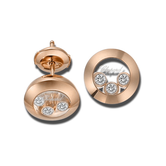 Ohrstecker Chopard Happy Curves aus 750 Roségold mit 6 Brillanten (2 x 0,08 Karat)