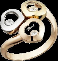 Ring Chopard Happy Curves aus 750 Roségold, 750 Gelbgold und 750 Weißgold mit 3 Brillanten (0,08 Karat)