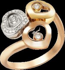 Ring Chopard Happy Curves aus 750 Roségold, 750 Gelbgold und 750 Weißgold mit mehreren Brillanten (0,14 Karat)