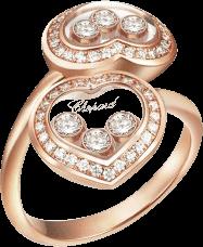 Ring Chopard Happy Curves aus 750 Roségold mit mehreren Brillanten (0,57 Karat)