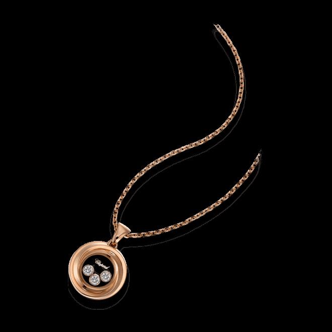 Halskette mit Anhänger Chopard Happy Emotions aus 750 Roségold mit 3 Brillanten (0,15 Karat)