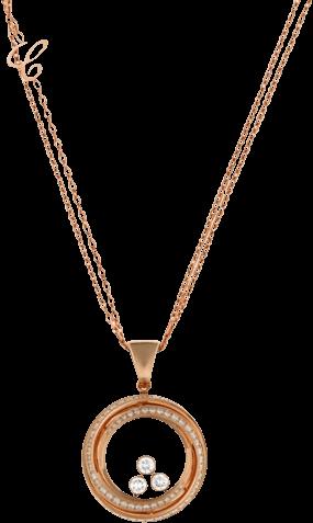 Halskette mit Anhänger Chopard Happy Emotions aus 750 Roségold mit mehreren Brillanten (1,16 Karat)