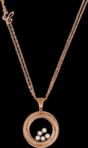 Halskette mit Anhänger Chopard Happy Emotions aus 750 Roségold mit mehreren Brillanten (1,56 Karat)