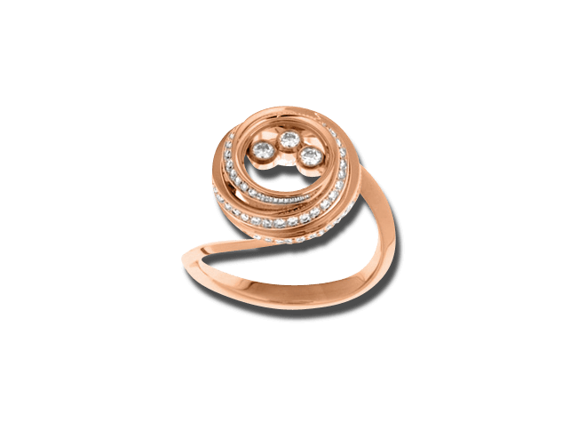 Ring Chopard Happy Emotions aus 750 Roségold mit 71 Brillanten (0,42 Karat)