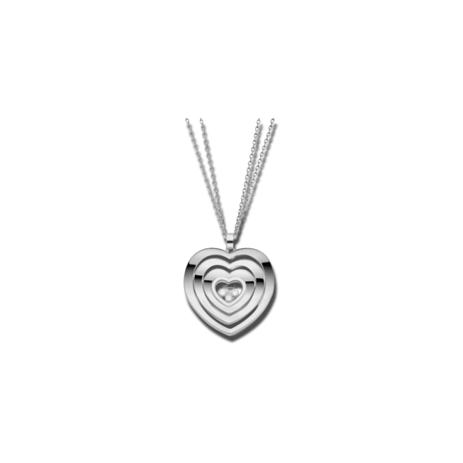 Halskette mit Anhänger Chopard Happy Hearts aus 750 Weißgold mit 3 Brillanten (0,15 Karat)