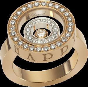 Ring Chopard Happy Spirit aus 750 Roségold und Weißgold mit mehreren Brillanten (0,68 Karat)