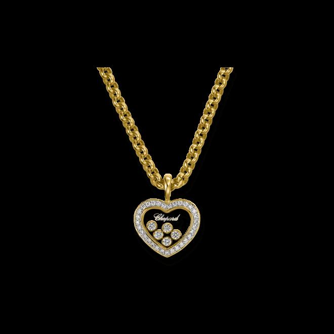 Halskette mit Anhänger Chopard Icons Heart aus 750 Gelbgold mit mehreren Brillanten (0,54 Karat)