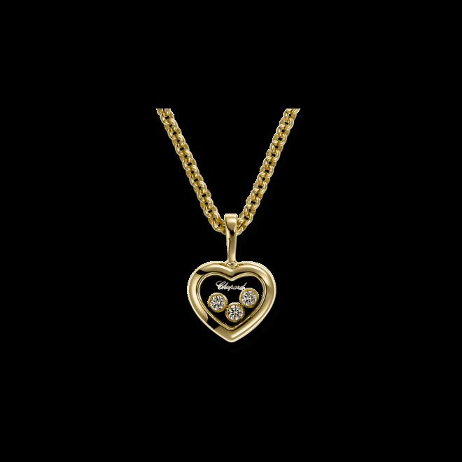 Halskette mit Anhänger Chopard Icons Heart aus 750 Gelbgold mit 3 Brillanten (0,27 Karat)