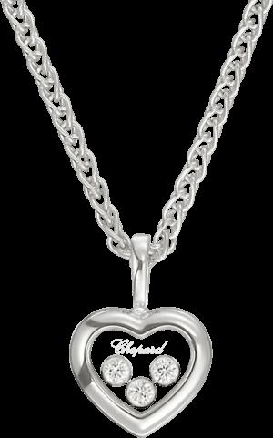 Halskette mit Anhänger Chopard Icons Heart aus 750 Weißgold mit 3 Brillanten (0,17 Karat)