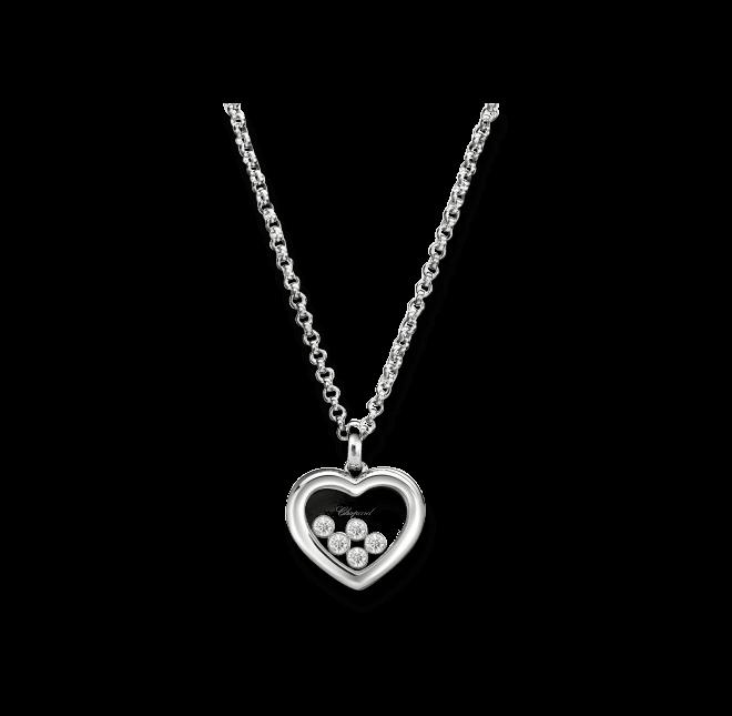 Halskette mit Anhänger Chopard Icons Heart aus 750 Weißgold mit 5 Brillanten (0,28 Karat)