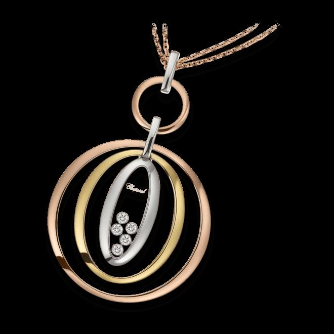 Halskette mit Anhänger Chopard Icons Oval aus 750 Gelbgold, 750 Roségold und 750 Weißgold mit 5 Brillanten (0,25 Karat)