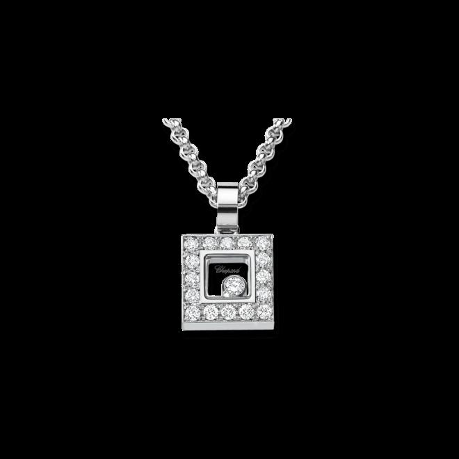 Halskette mit Anhänger Chopard Icons Square aus 750 Weißgold mit mehreren Brillanten (0,38 Karat)