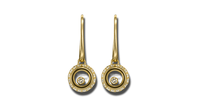 Ohrhänger Chopard Miss Happy aus 750 Gelbgold mit mehreren Brillanten (2 x 0,14 Karat)