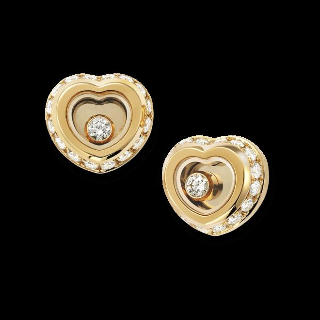 Ohrstecker Chopard Miss Happy aus 750 Gelbgold mit mehreren Diamanten (2 x 0,145 Karat)
