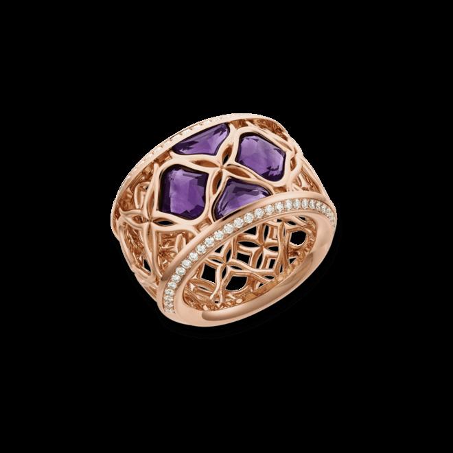 Ring Chopard Imperiale aus 750 Roségold mit 4 Amethysten und 58 Brillanten (0,35 Karat)