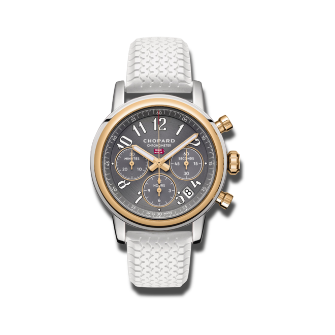 Armbanduhr Chopard Classic Racing Automatik Chronograph 39mm mit grauem Zifferblatt und Kautschukarmband bei Brogle