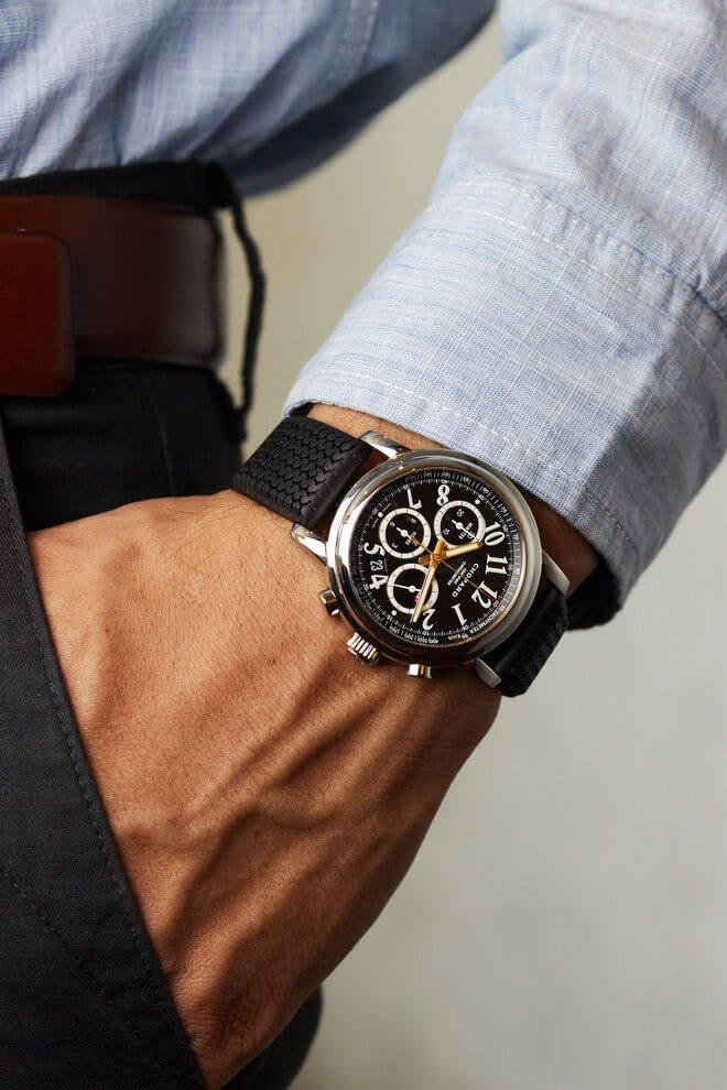 Herrenuhr Chopard Mille Miglia Chronograph mit schwarzem Zifferblatt und Kautschukarmband