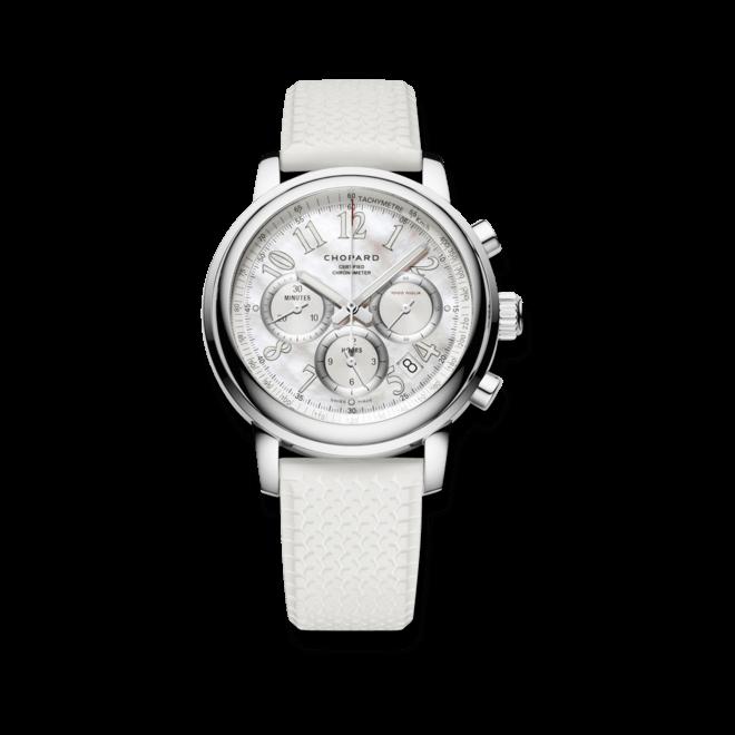 Armbanduhr Chopard Mille Miglia Chronograph mit perlmuttfarbenem Zifferblatt und Kautschukarmband