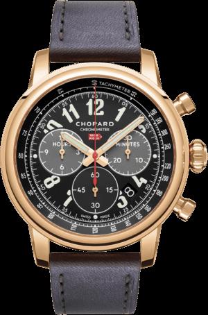 Herrenuhr Chopard Mille Miglia Classic Chronograph mit schwarzem Zifferblatt und Kalbsleder-Armband