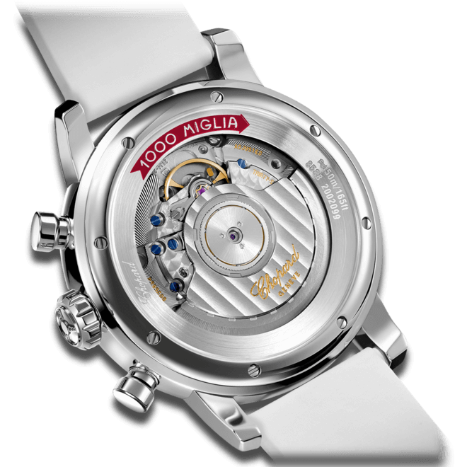 Damenuhr Chopard Mille Miglia Classic Chronograph mit silberfarbenem Zifferblatt und Kautschukarmband bei Brogle