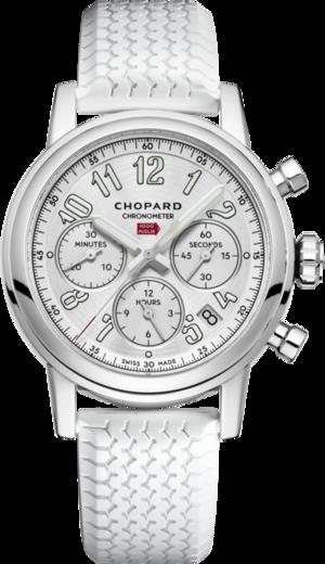 Damenuhr Chopard Mille Miglia Classic Chronograph mit silberfarbenem Zifferblatt und Kautschukarmband