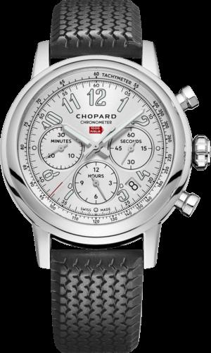 Herrenuhr Chopard Mille Miglia Classic Chronograph mit silberfarbenem Zifferblatt und Kautschukarmband