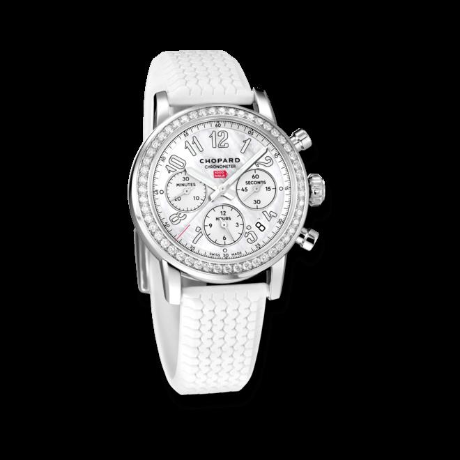 Damenuhr Chopard Mille Miglia Classic Chronograph mit Diamanten, perlmuttfarbenem Zifferblatt und Kautschukarmband bei Brogle