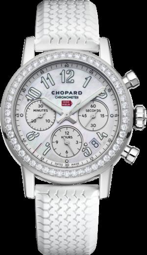 Damenuhr Chopard Mille Miglia Classic Chronograph mit Diamanten, perlmuttfarbenem Zifferblatt und Kautschukarmband